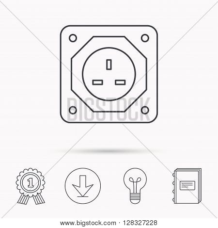 UK socket icon. Electricity power adapter sign. Download arrow, lamp, learn book and award medal icons.