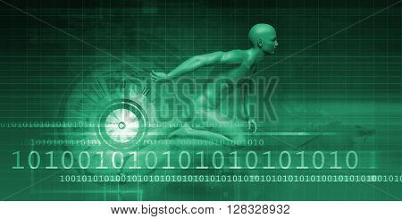 Digital Marketing Technologies and Fast Paced Results Concept 3D Illustration Render