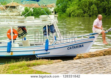 Paraty, Rio De Janeiro, Brazil - Dec 12, 2015: Boat At Port Of Paraty. Paraty Is A Colonial And Hist
