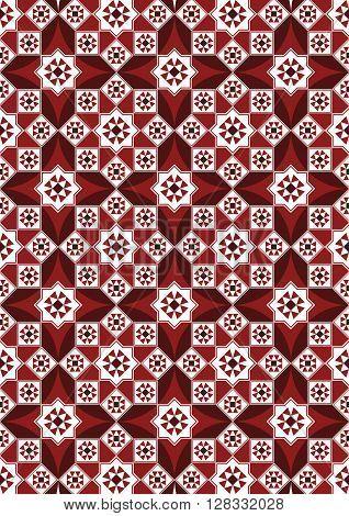 A Beautiful Burgundy Arabesque Mosaic Pattern Background