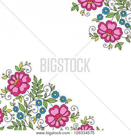 Colorful flower corner, lace ornament