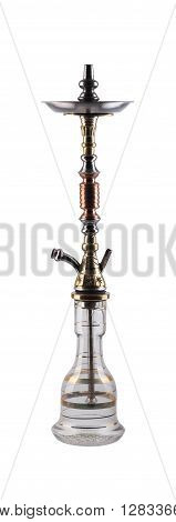 Antique hookah isolated on white background. Eastern smokable water pipe smoking on white background.Old hookah with rubber tube and flask isolated on white background.