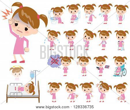 Set of various poses of Pink clothing girl About the sickness