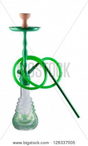 Modern green hookah isolated on white background. Eastern smokable water pipe smoking on white background. Black hookah with black rubber tube and black flask isolated on white background.