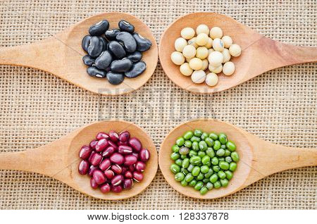 Mix from different beans black bean soy bean azuki bean mung bean in wooden spoon on the sackcloth background