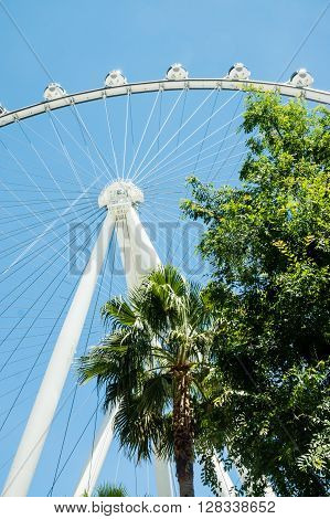 Las Vegas NV - May 3 2016: The 520-foot diameter High Roller is the world's largest observation wheel and a dominant landmark in Las vegas.