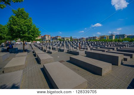 BERLIN, GERMANY - JUNE 06, 2015: Sad monument on Berlin to  the murdered jews of europe, also the Holocaust Memorial.