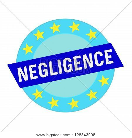 negligence white wording on blue Rectangle and Circle blue stars
