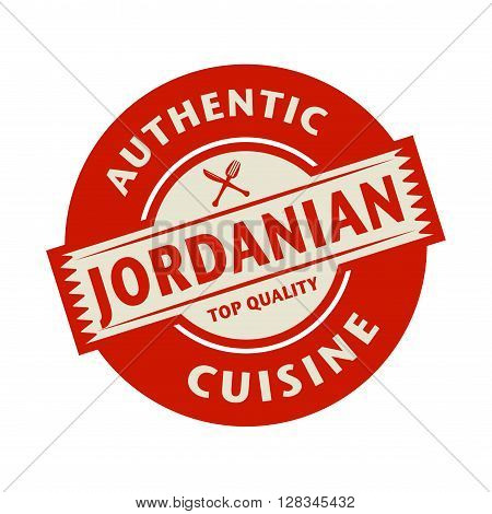 Abstract stamp or label with the text Authentic Jordanian Cuisine written inside, vector illustration