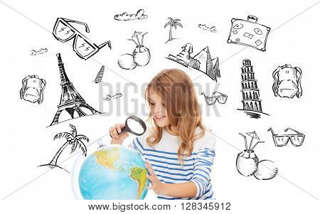 people, tourism, vacation and summer holidays concept - little student girl looking at globe with magnifier over touristic doodles