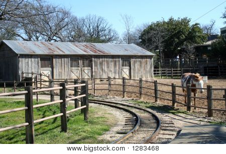 horse on ranch by the railroad tracks. poster