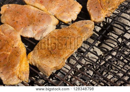 Barbecue Grill Steaks Grilled meat on the Flamet BBQ.