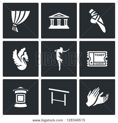 Icons who identify Ballet Isolated on a Black Background