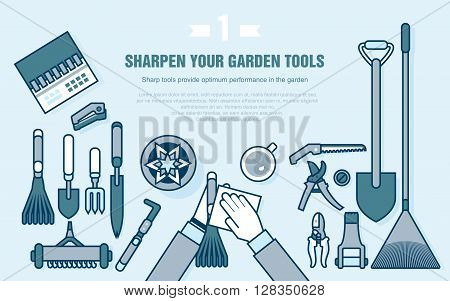 Stock vector illustration set of gardening tools for working in the vegetable garden top view, cleaning garden accessories in line style element for info graphic, website, icon, games, motion design