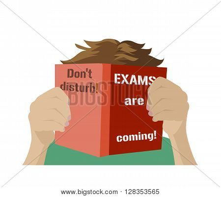 Examination test poster. Dont disturb. Exams are coming.  Examination preparation. Motivation exam banner.