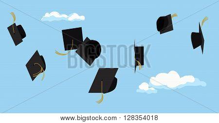Graduation celebration. Graduation ceremony. Graduation party. Vector flat design. Graduation caps high in the sky. Greeting card design.