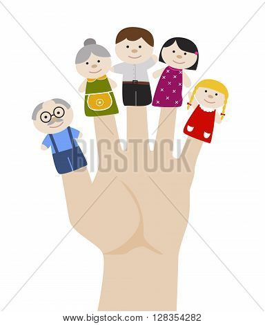 Family finger puppets. Grandparents and parents with child. Cartoon vector illustration of happy puppet family. Togetherness, family love concept.