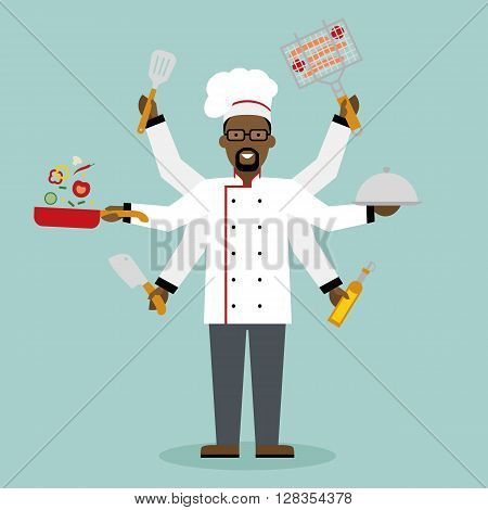 Multitasking african american chef with six hands standing on white background and holding a meal, knife, paddle, pan with vegetabes, oil and barbeque. Successful cook. Restaurant chef.