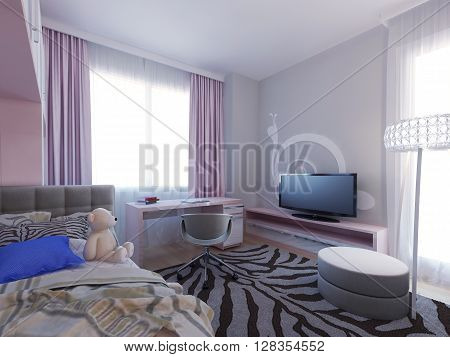 Spacious girl bedroom design, zebra carpet. 3d render