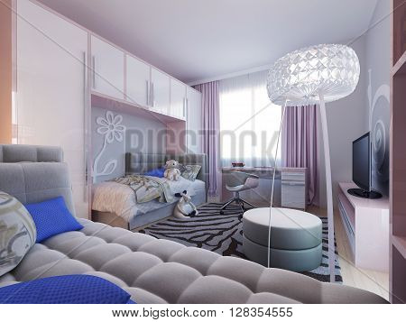 Avant-garde childrens bedroom interior with soft furniture. 3d render