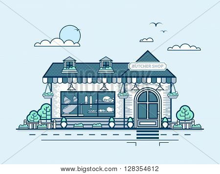 Stock vector illustration city street with butcher shop in line style element for info graphic, website, icon, games, motion design, video