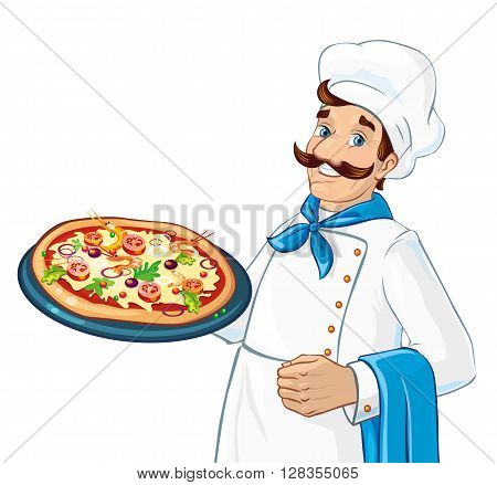Caucasian chef holding pizza. Plate with pizza. Ingredients as cheese, tomatoes, greens. Fresh and delicious.