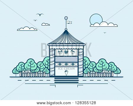 Stock vector illustration city street with ice cream kiosk, small architectural form in line style element for infographic, website, icon, games, motion design, video