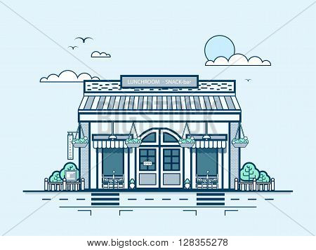 Stock vector illustration city street with snack bar, bistro, dining, dining room, lunch room, modern architecture in line style element for infographic, website, icon, games, motion design, video