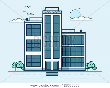 Stock vector illustration city street with office building, administrative building, modern architecture in line style element for infographic, website, icon, games, motion design, video