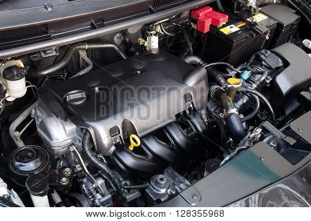 front car engine tuning with car machine part