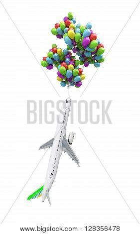 VT light air travel concept airplane flies on balloons on white 3d illustration render