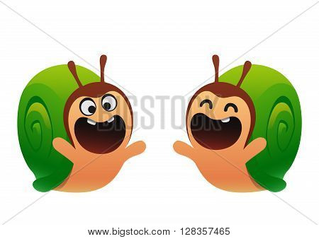 Funny snail cartoon green two types cute