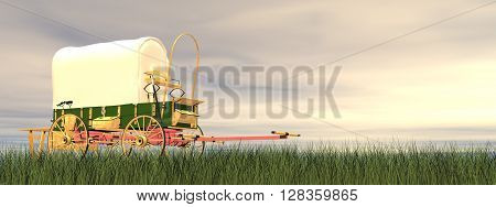 Chuckwagon on the grass by sunset - 3D render