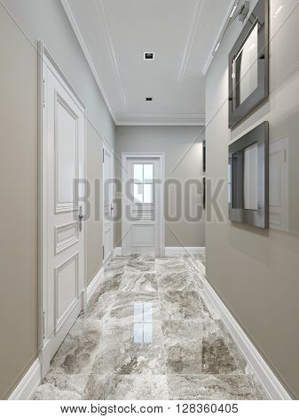 Art deco corridor design, marble tile flooring. 3d render