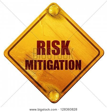 Risk mitigation sign, 3D rendering, isolated grunge yellow road