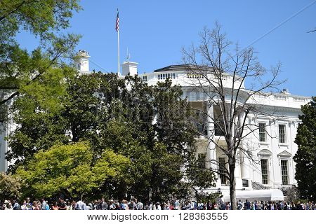 WASHINGTON, DC - APR 17: The White House in Washington, DC, as seen on April 17, 2016. It is the official residence and principal workplace of the President of the United States.
