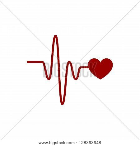 Heartbeat vector icon with cardio link on the white background