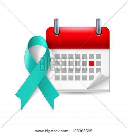 Teal awareness ribbon and calendar with marked day. Symbol of scleroderma ovarian cancer food allergy tsunami victims kidney disease sexual assualt