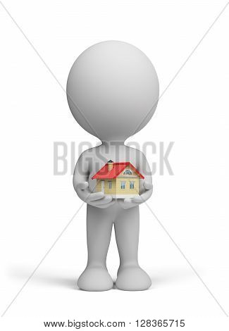3d man holding a small house in his hands. 3d image. White background.