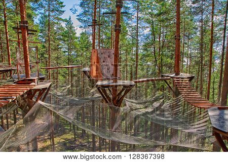 Pine Forest Rope Park Challenge and Puzzle