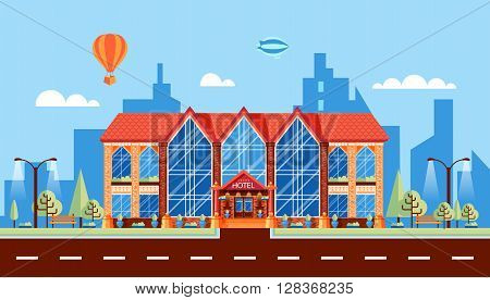 Stock vector illustration city street with hotel with large panoramic windows, modern architecture in flat style element for info graphic, website, icon, games, motion design, video