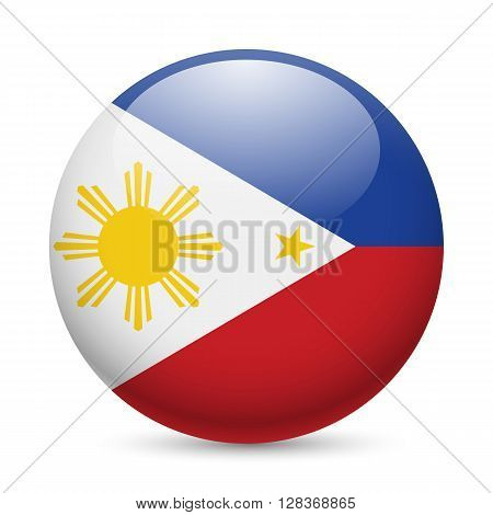 Flag of Philippines as round glossy icon. Button with Filipino flag