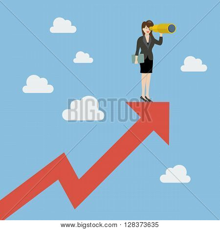 Business woman has a telescope standing on graph up. Business concept