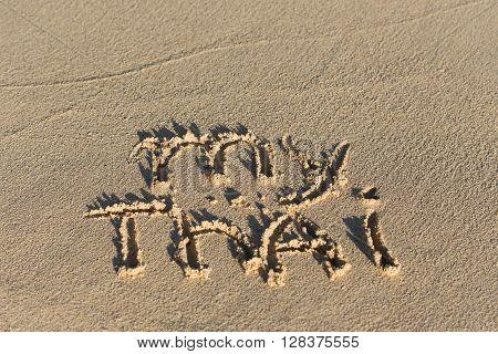 Inscription My Thai On Sandy Beach