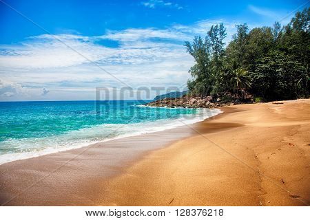Tropical Beach With Clouds