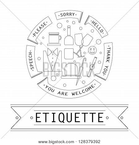 The elements of speech etiquette. Phrases in etiquette in the circle.