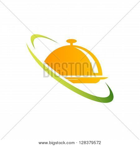 Food gold cover catering icon vector illustration on the white background