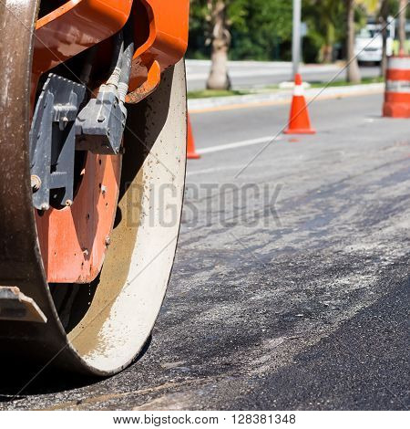 Steamroller During Road Construction