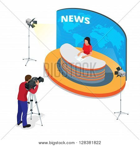 Breaking news reportage and press conference. Journalist interview an analyst. Flat 3d vector isometric illustration