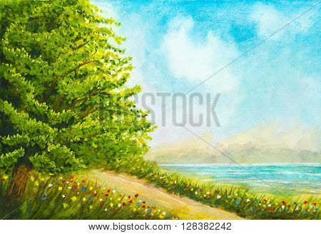 hand painted watercolor nature landscape with tree flowers grass road and lake